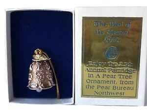 Partridge in a Pear Tree 2002 Cast Metal Bell Pear Bureau Northwest USA Ornament