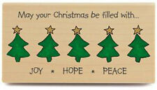 New Stampabilities JOY HOPE PEACE WITH TREES Christmas Verse Wood Rubber Stamp