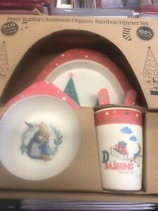 Children's  5 Pieces Peter Rabbit Plate Feeding Set   Christmas Eco Bamboo