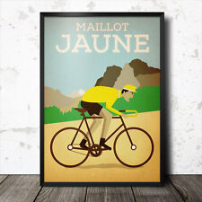 maillot jaune yellow jersey tour de france poster cycling retro vintage