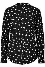 SUNO Chic Black/Ivory Polka Dot Print Cotton Long Sleeve BLOUSE Top Sz 2. NEW