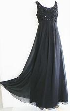 betsey johnson Evening dress Black Silk Chiffon Empire Waist Maxi Swing Size 0