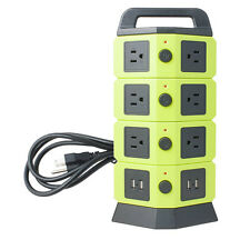 Power Socket Electric Multi Outlet 10 US Socket 4 USB Charger Station Ports New