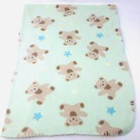 Circo Target Green Fleece Baby Blanket Bears Blue Yellow Stars Stitched Edge