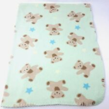 Circo Target Green Fleece Baby Blanket Bears Blue Yellow Stars Stitched Edge