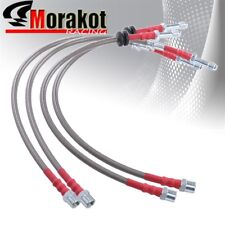 Bmw E46 3-Series Stainless Steel Front & Rear Oil Brake Line Kit Silver/Red Cap