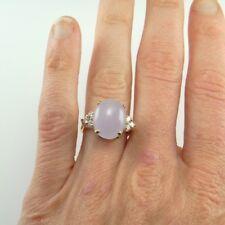Lavender Jadeite Jade Cabochon Cab Diamond Ring 14K Yellow Gold Estate Vintage