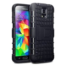 For Samsung Galaxy S5 Rugged Tough Armour Rubberised Hard Back Case - Black