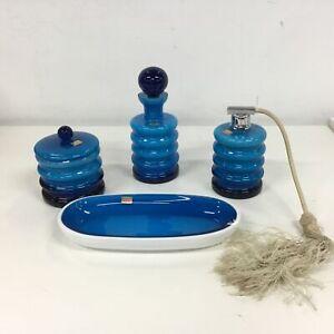 Vtg German Friederich Blue Hooped Glass Vanity Set Atomiser Bottles Tray #460