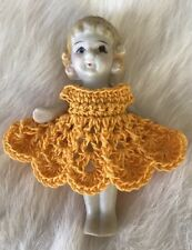 Crochet Dress for 2 1/2- 2 3/4 Frozen Charlotte Flapper Bisque Penny Doll Gold