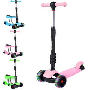 Kids Child Toddler Scooter Girls Boys Push Kick Scooter 3 Wheels Adjustable Seat