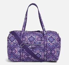 Vera Bradley Iconic Large Cotton Travel Duffel Regal Rosette Purple Floral New