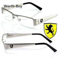 New Khan Clear Lens Fashion Glasses Rectangular Frame Mens Womens Metal Half Rim