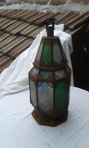 UNIQUE ANTIQUE PRIMITIVE  OLD BIG METAL COLORFUL GLASS LANTERN