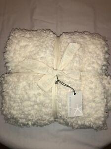 "Barefoot Dreams Loop Fringe Throw Blanket Cozy Chic Cream Soft 45"" x 60"""