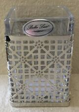 BELLA LUX FLORAL TRELLIS SILVER GLASS TOOTHBRUSH HOLDER