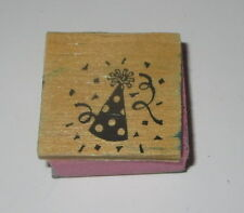 Party Hat Rubber Stamp Ribbon Foam Mounted Confetti Wood Top