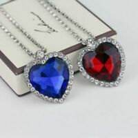 Titanic Heart Of The Ocean Sapphire Blue Red CZ Crystal Necklace Pendant Jewelry