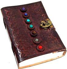 Handmade Paper 6 x 9 Embossed Leather Journal 7 Stone Chakra Journal Sketchbook