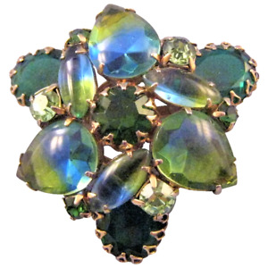 Blue and Green Givre Rhinestone Trefoil Brooch