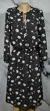 J. CREW Black Multicolor Floral Print Dress XS Tie Neck Long Sleeves Lined