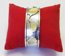 White Mother of Pearl Extra Heavy Cuff Slver Bracelet