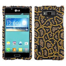 LG Optimus Showtime Crystal Diamond BLING Hard Case Phone Cover Jeweled Jaguar