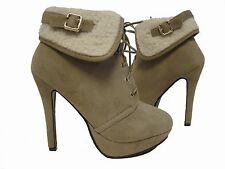 Beige Taupe Suede Fur Lace up  Platform Ankle Work Boots Booties Heels Shoes 6.5