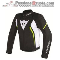 Chaqueta de motociclista Dainese Avro d2 Tex blanco negro amarillo fluo
