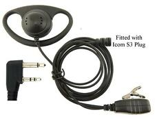ICOM IC-F12 F22 F22SR D-SHAPE SECURITY EARPIECE WITH MIC & PTT x 1