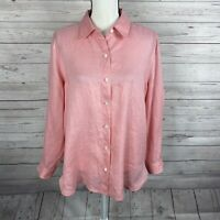 J. Jill Womens Button Down Shirt Size Medium Petite Pink Long Sleeve Linen