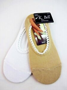 White And Beige Footies Two Pairs Sock Liners Ladies Size 9-11 K Bell Safari