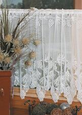 "Woodland White Country Lace Pinecone Scalloped Window Cafe Tier 60""x 30"""