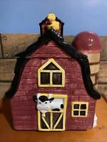 """Vintage Red Barn w/ Silo Cookie Jar 10"""" Tall w/Lid Cow Chicken And Milk Cans EUC"""