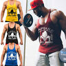 Men's Muscle Fit Gym Cotton Tank Top Bodybuilding Workout Print Sleeveless Vest