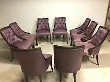9 Dining Chairs Washable Vinyl Fabric Purple and Black