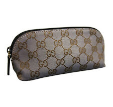 NEW Authentic GUCCI GG Canvas Makeup Case Cosmetic Bag Brown/Silver 272367 8170