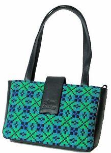 Yfenni Leather  Navy & Emerald Green Welsh Tapestry Shoulder Bag
