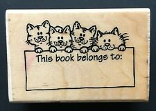 This Book Belongs To Property Tag Label Kitty Cats Wood Rubber Stamp