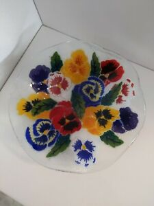 Signed Peggy Karr Fused Art Glass PANSY Bowl