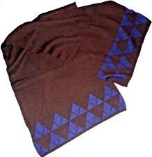 5083d9c0d4 Mantello Sciarpa Caldissima in maglia tessuta Pura Lana 100% Marrone scuro  e Blu