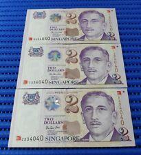 3X 2000 Singapore $2 Millennium Commemorative Note 0334040, 1334040 & 2334040