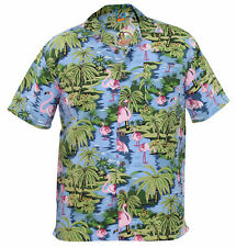 TrueFace Mens Hawaiian Shirts Style Holiday Beach Flamingo Mountain Spring S Flimingo-sky M