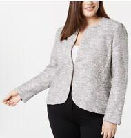 ANNE KLEIN NEW Women's  White Multi Tweed Open Front  Blazer Jacket Top Size 14W