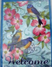 GARDEN FLAG BIRD WELCOME   12.5 in  X  18 in SMALL FLAG 100% POLYESTER