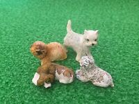 Dolls House Miniature 1/12th Scale Set of 4 Dogs Various Breeds