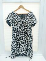Next Monochrome Black and White Full Lined Smart Floral Print Tea Dress 14 LEOPL