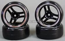 RC Car 1/10 DRIFT WHEELS TIRES Package 3MM  3 Spoke STAR BLACK/ CHROME  *4 PCS*