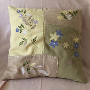 Pottery Barn Appliqued and Embroidered Pillow Cover
