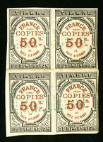 France Stamps Early Block of 4 Revenue